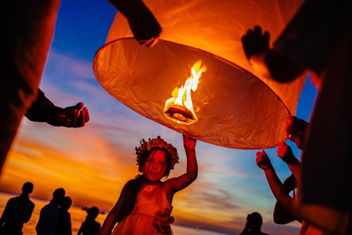 Lanterns at a destination wedding in Phuket, Thailand